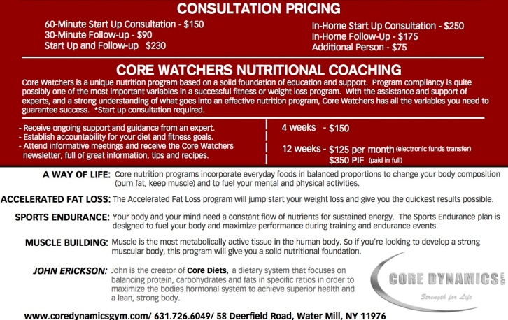 core nutrition rate card